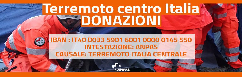 Sisma centro Italia. Raccolta fondi Anpas