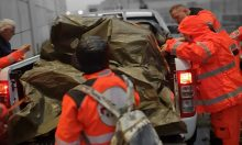 Volontari Anpas con mezzo di Protezione civile