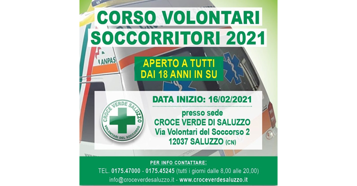 Croce Verde Saluzzo corso volontari soccorritori
